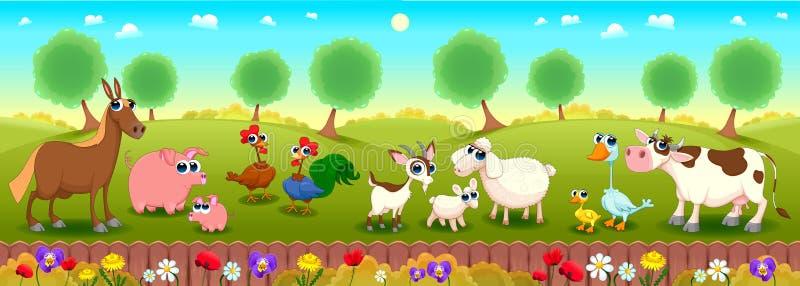De dieren van het familielandbouwbedrijf in de aard stock illustratie