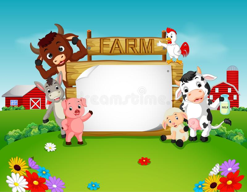 De dieren van het inzamelingslandbouwbedrijf met houten teken royalty-vrije illustratie