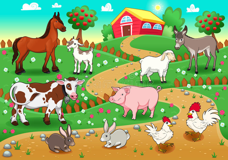 De dieren van het landbouwbedrijf met achtergrond. royalty-vrije illustratie