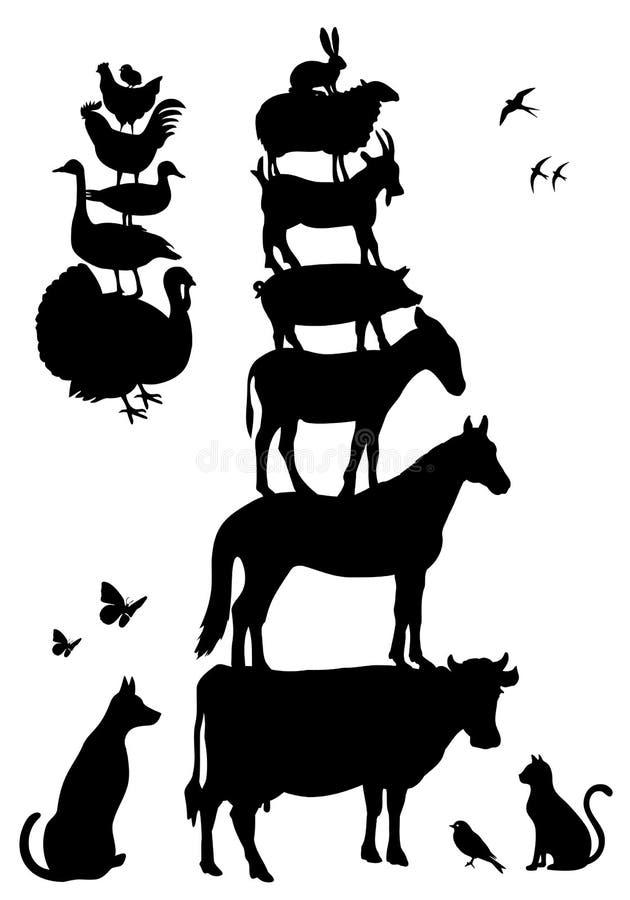 De dieren van het landbouwbedrijf, vectorreeks stock illustratie