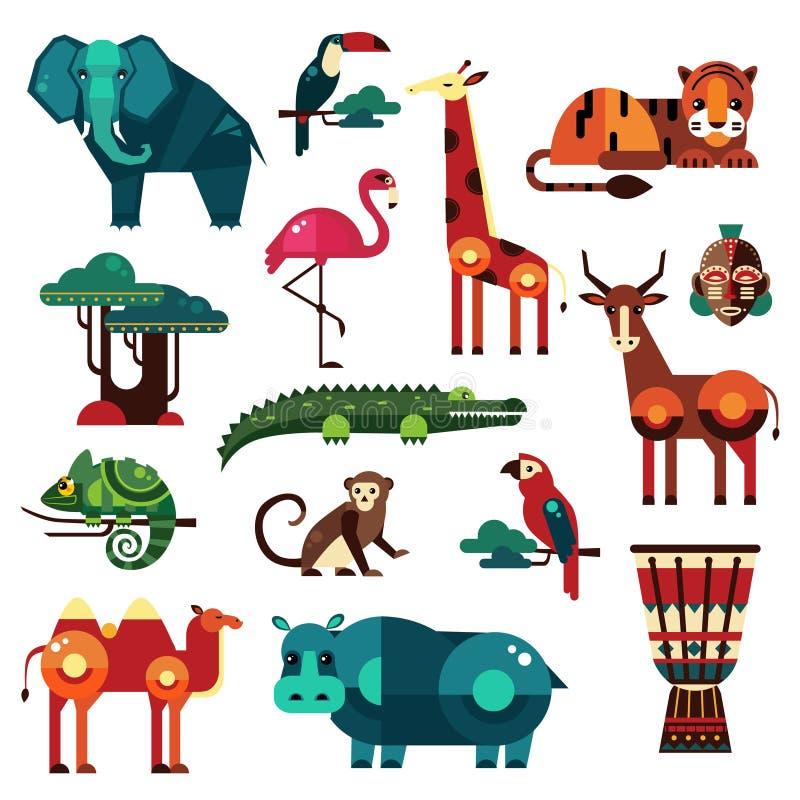 De Dieren Vectorreeks van Afrika en van de Savanne vector illustratie