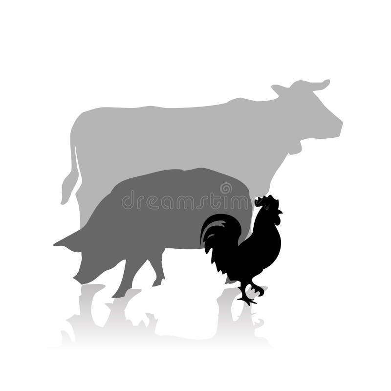 De dieren vectorsilhouet van het landbouwbedrijf royalty-vrije illustratie