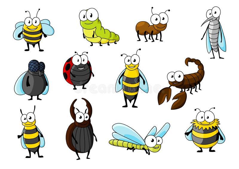 De dierenkarakters van het beeldverhaal grappige insect stock illustratie