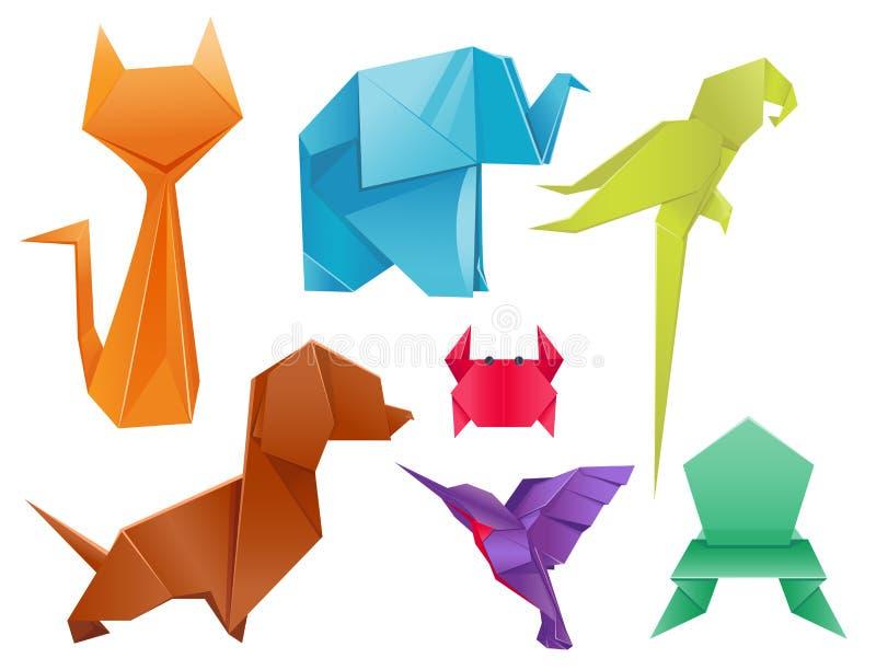 De dierenorigami plaatst het Japanse gevouwen moderne symbool van de het wildhobby creatieve decoratie vectorillustratie stock illustratie