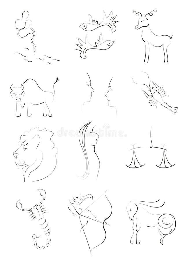 De dierenriem ondertekent cijfers stock illustratie