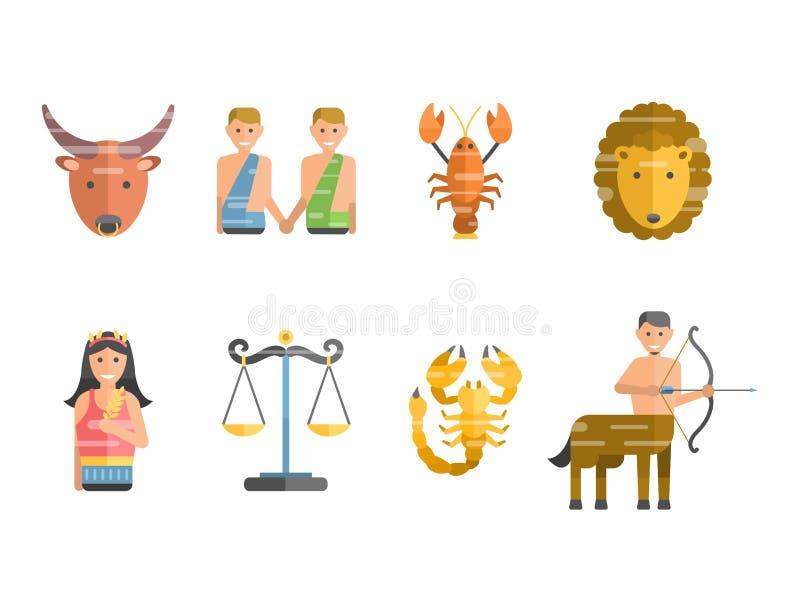 De dierenriem ondertekent vlakke reeks van van de de sterinzameling van horoscoopsymbolen van het de astrologie stijgende cijfer  vector illustratie