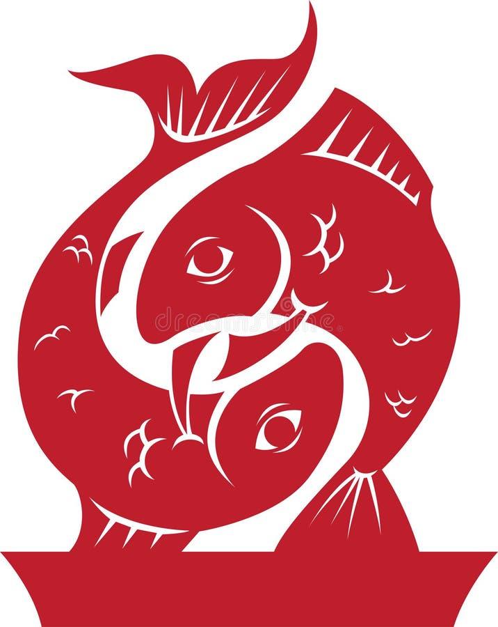 De Dierenriem van Vissen/het Symbool van de Horoscoop stock illustratie