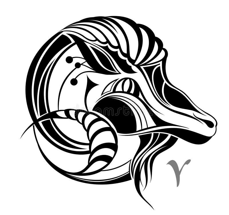 De dierenriem vectorteken van de Ram. Het ontwerp van de tatoegering royalty-vrije illustratie