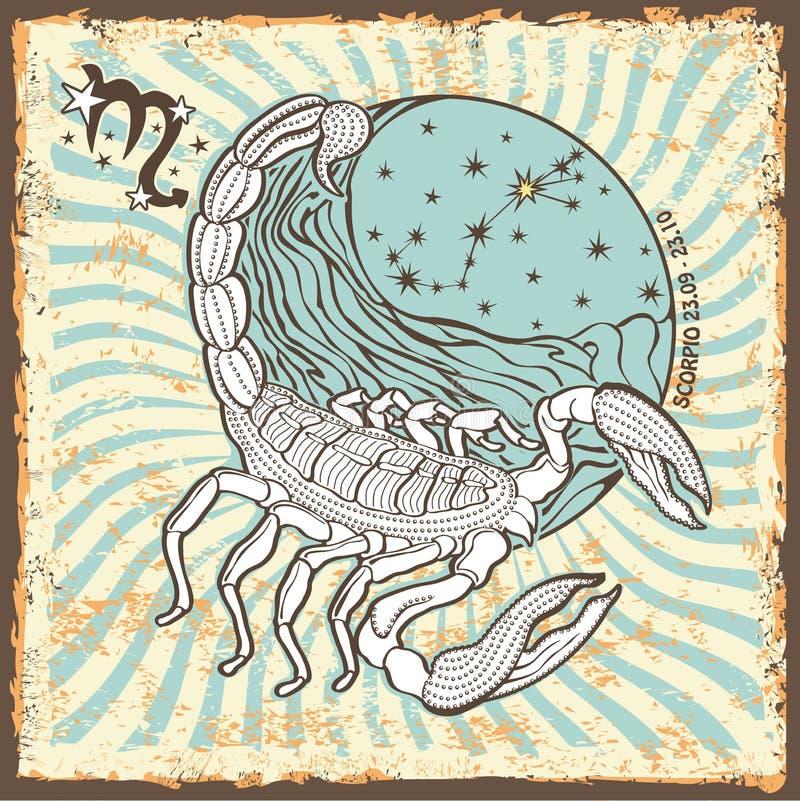 De dierenriemteken van Schorpioen Uitstekende Horoscoopkaart stock illustratie