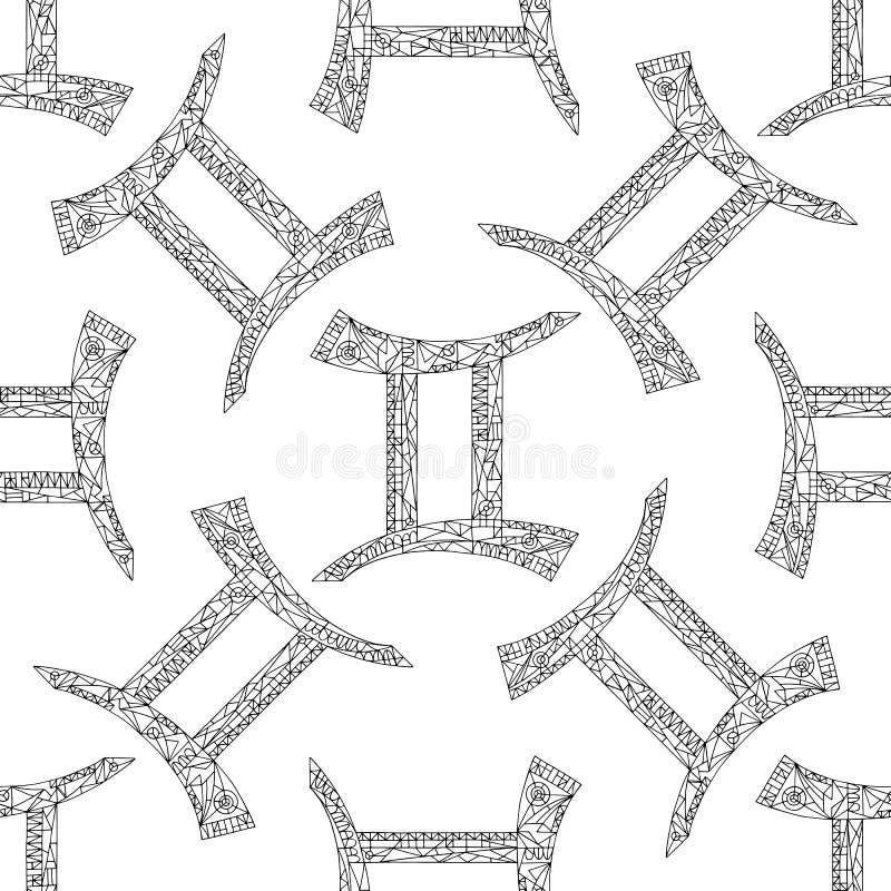 De dierenriemteken van Tweeling Vectorhand getrokken horoscooppatroon Astrologische naadloze achtergrond royalty-vrije illustratie