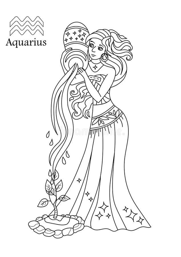 De dierenriemteken van Waterman als mooi meisje astrologie - zieke vector stock illustratie
