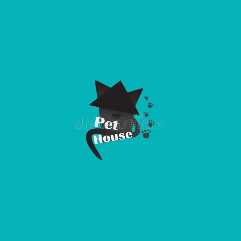 De dierenwinkel logotype, creatief embleem voor katten slaat, met zwarte kat op vector illustratie