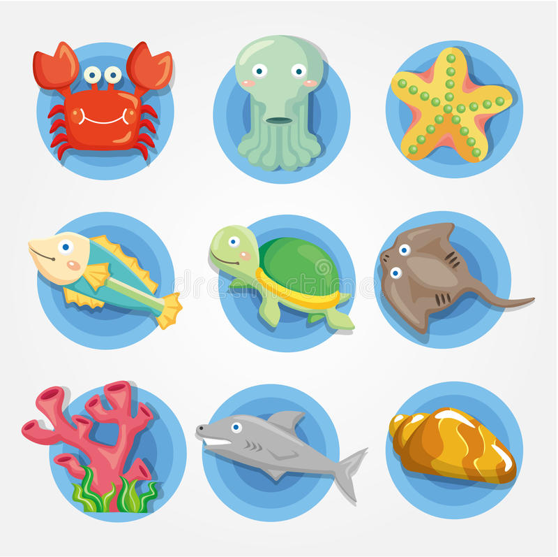 De dierlijke geplaatste pictogrammen van het Aquarium van het beeldverhaal, vissenpictogrammen vector illustratie