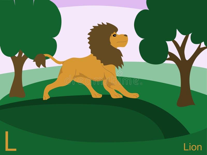 De dierlijke kaart van de alfabetflits, L voor leeuw vector illustratie