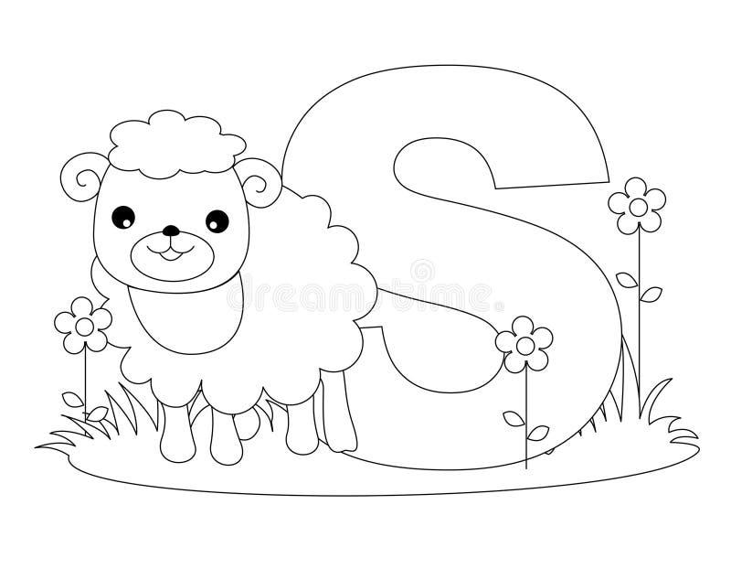 De dierlijke Kleurende pagina van het Alfabet S stock illustratie