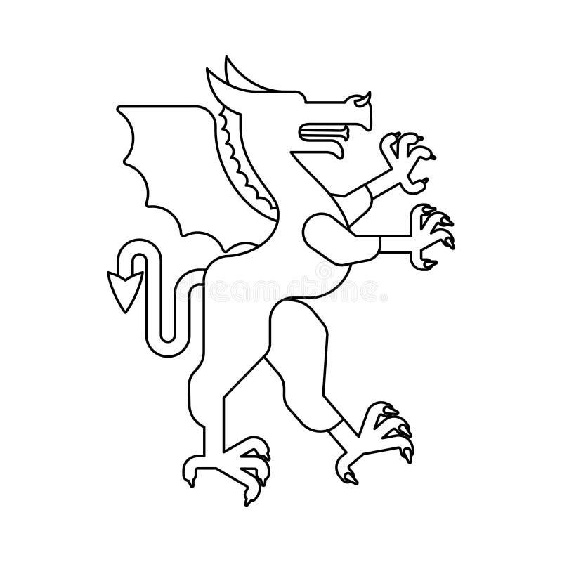 De dierlijke lineaire stijl van Dragon Heraldic Fantastisch Dierenmonster FO stock illustratie