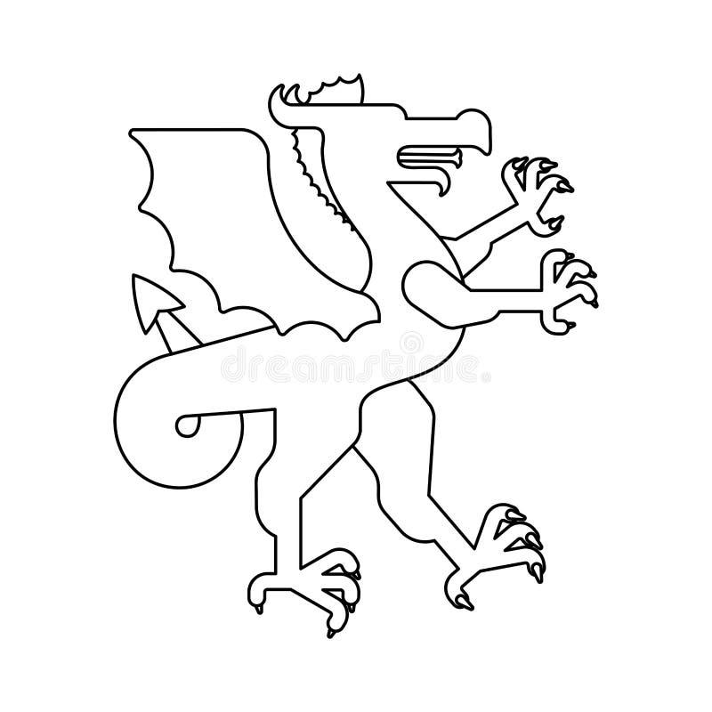 De dierlijke lineaire stijl van Dragon Heraldic Fantastisch Dierenmonster FO vector illustratie