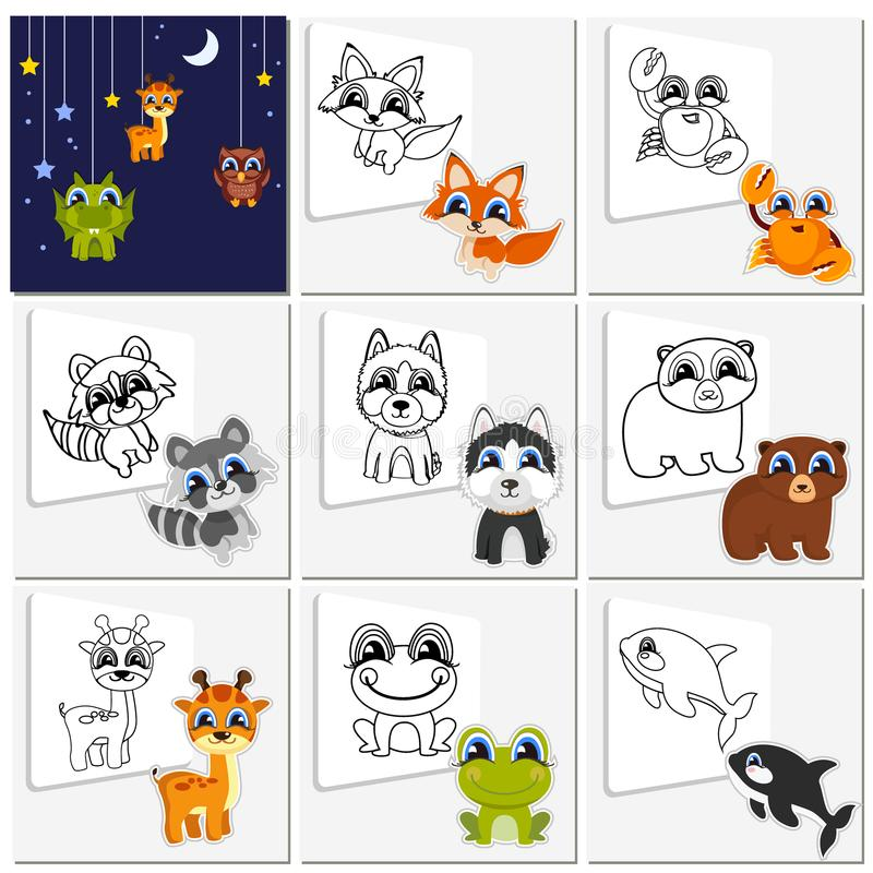De dierlijke reeks van het beeldverhaal Kinderachtige inzamelings leuke dieren die moeten worden geschilderd Kleurende boekpagina vector illustratie