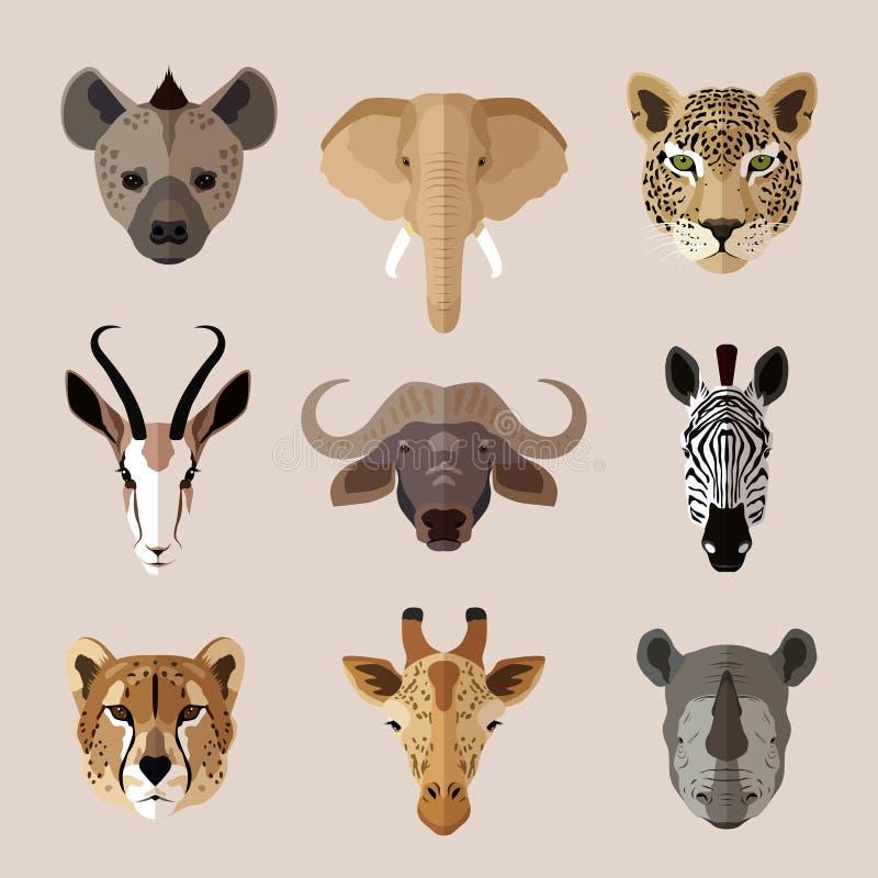 De dierlijke reeks van het portret vlakke pictogram vector illustratie