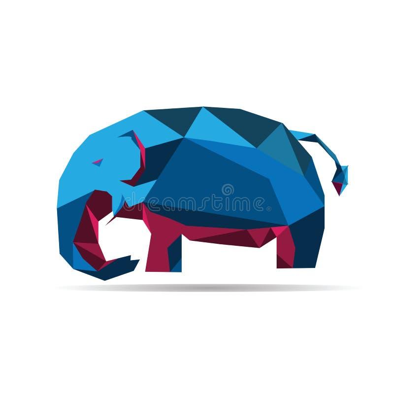 De dierlijke veelhoekige vector van de olifantsvorm vector illustratie