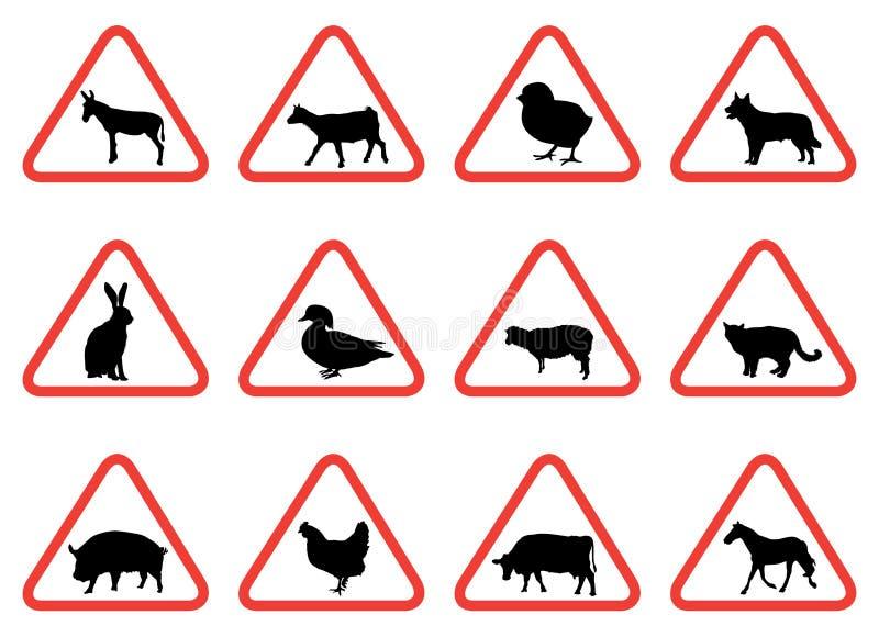 De dierlijke waarschuwingsseinen van het landbouwbedrijf stock illustratie