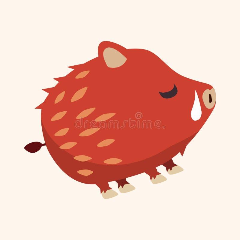 De dierlijke wilde elementen van het varkens vlakke pictogram, eps10 stock illustratie