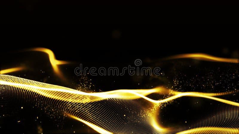 De digitale abstracte gouden achtergrond van de de deeltjesstroom van de kleurengolf stock foto
