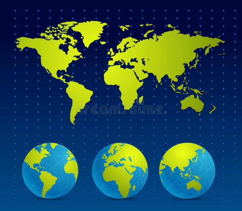 De digitale Achtergrond van de kaart van de Wereld vector illustratie