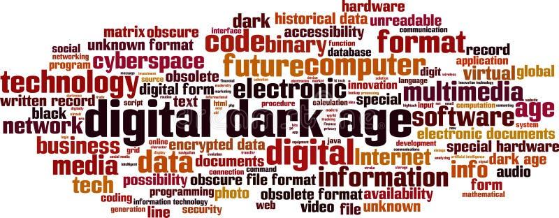De digitale donkere wolk van het leeftijdswoord royalty-vrije illustratie