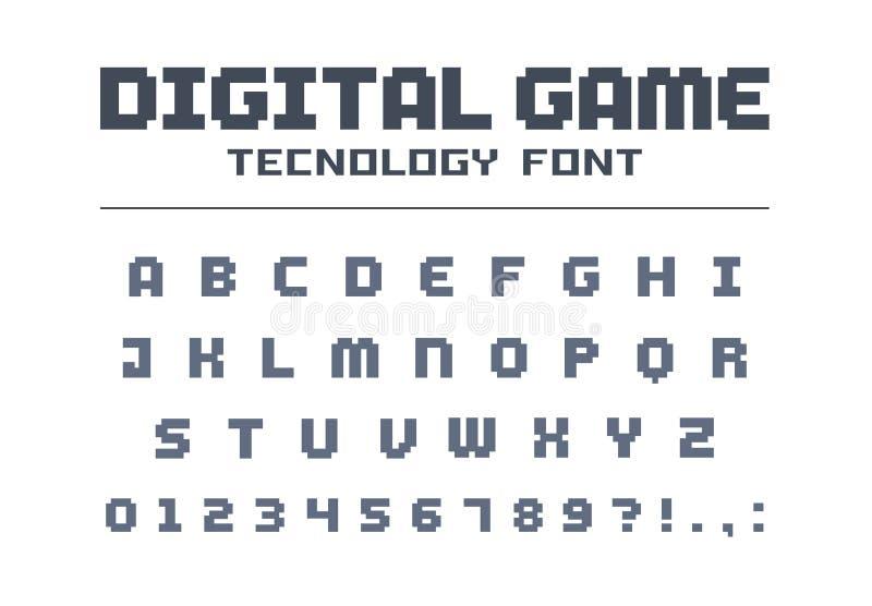 De digitale doopvont van de speltechnologie Retro letters en getallen voor video, computer, mobiel app embleemontwerp Pixelkunst, vector illustratie