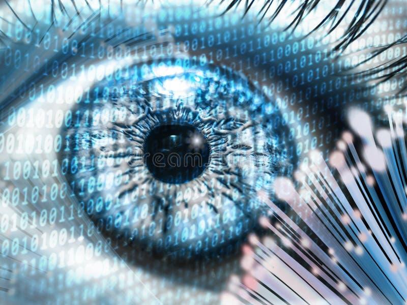 De digitale foto van het oogconcept snelheid van Internet van de vezel de optische kabel en veilige digitale gegevensopslag stock foto's
