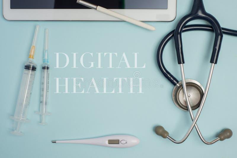 De digitale gezondheid concept-legt vlakte stock afbeelding