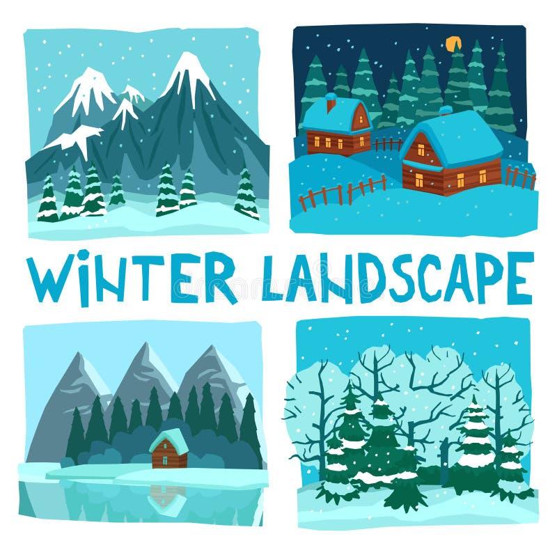 De Digitale Grafische Reeks van het de winterlandschap royalty-vrije illustratie