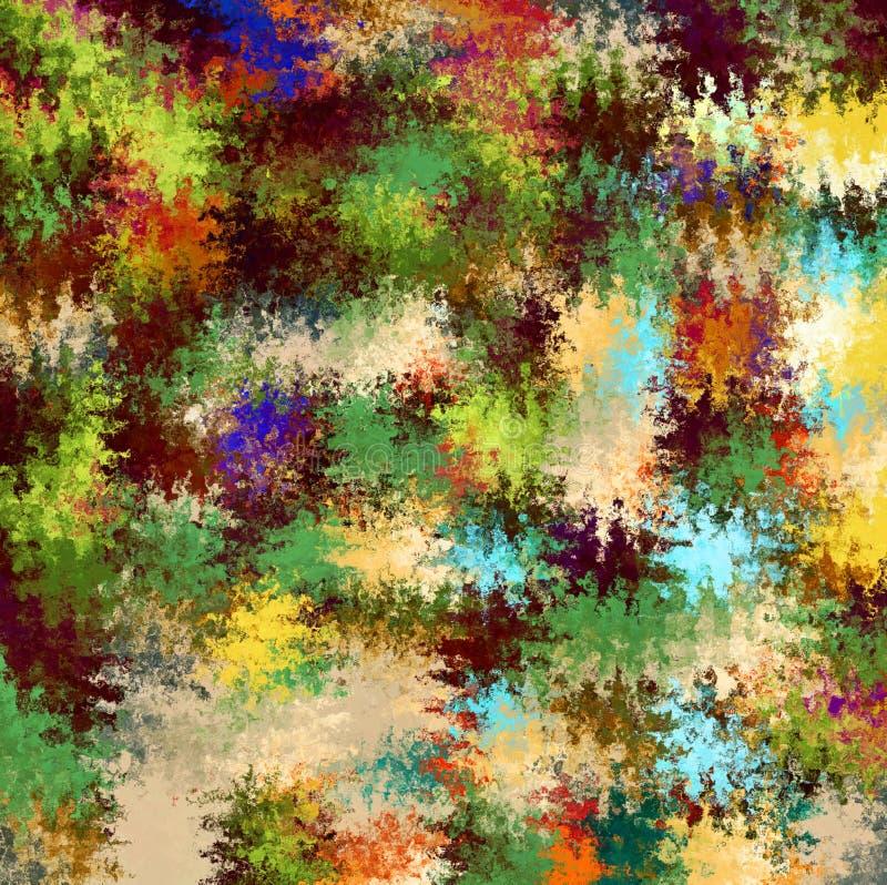 De digitale het Schilderen Abstracte Spatverf in Kleurrijke Levendige Rustieke Militaire Camouflage kleurt Achtergrond vector illustratie