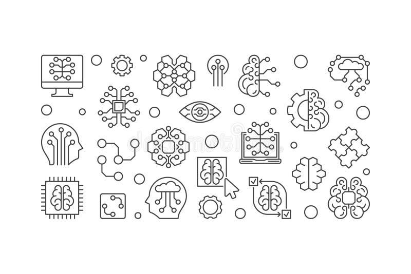 De digitale horizontale banner van het Hersenen vectoroverzicht AI illustratie royalty-vrije illustratie