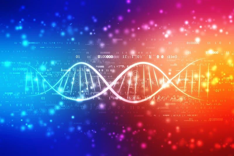 De digitale illustratie van DNA op medische abstracte achtergrond royalty-vrije illustratie