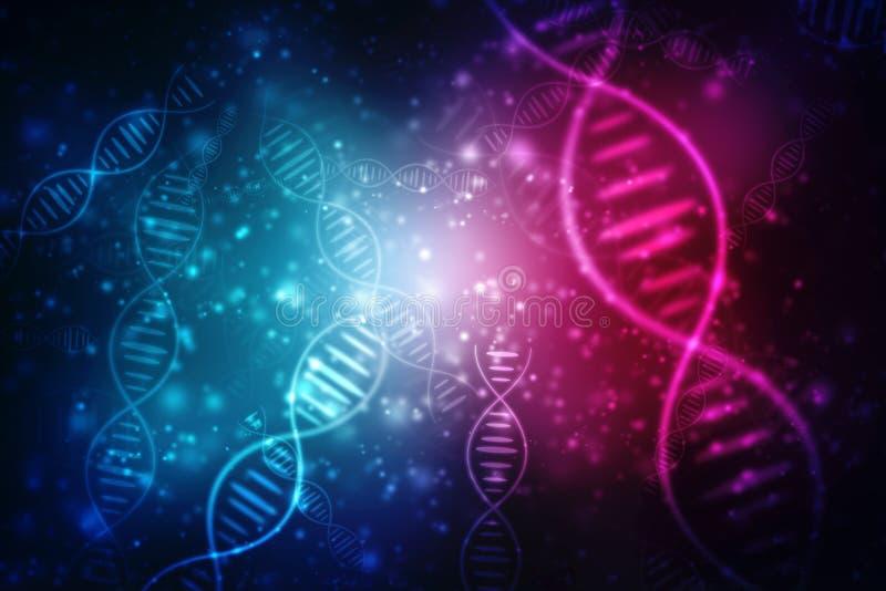 De digitale Illustratie van DNA-structuur, vat medische achtergrond samen royalty-vrije illustratie