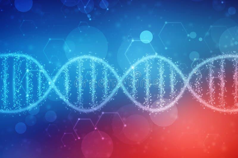 De digitale Illustratie van DNA-structuur, vat medische achtergrond samen stock illustratie