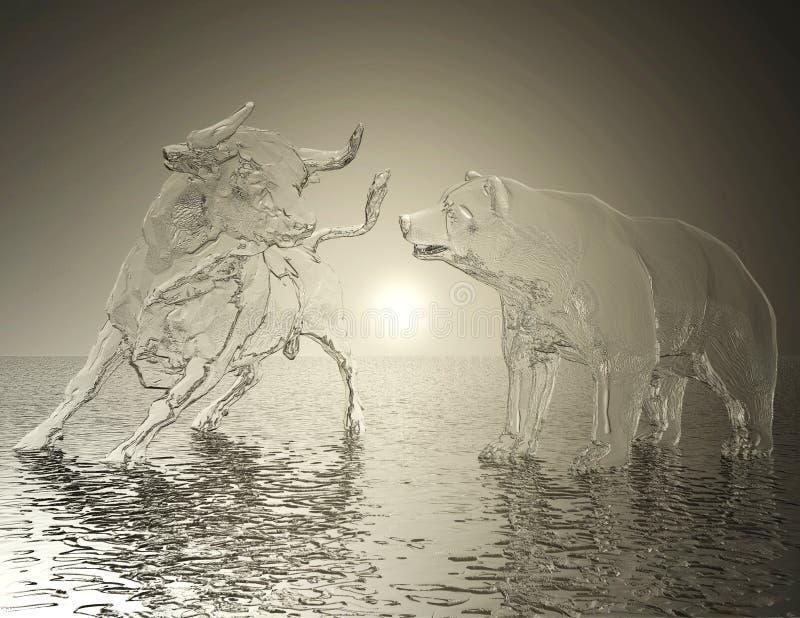 De digitale Illustratie van een Stier en draagt Hulp vector illustratie