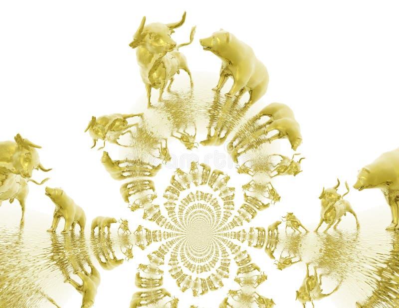 De digitale Illustratie van Stier en draagt stock illustratie