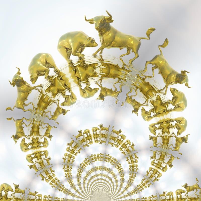 De digitale Illustratie van Stier en draagt vector illustratie