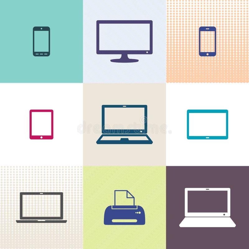 De digitale inzameling van apparatenpictogrammen vector illustratie