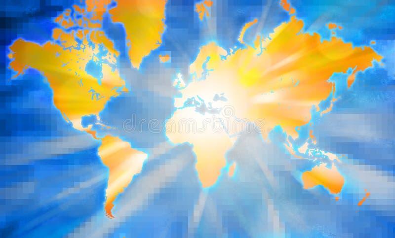 De digitale Kaart van de Wereld vector illustratie