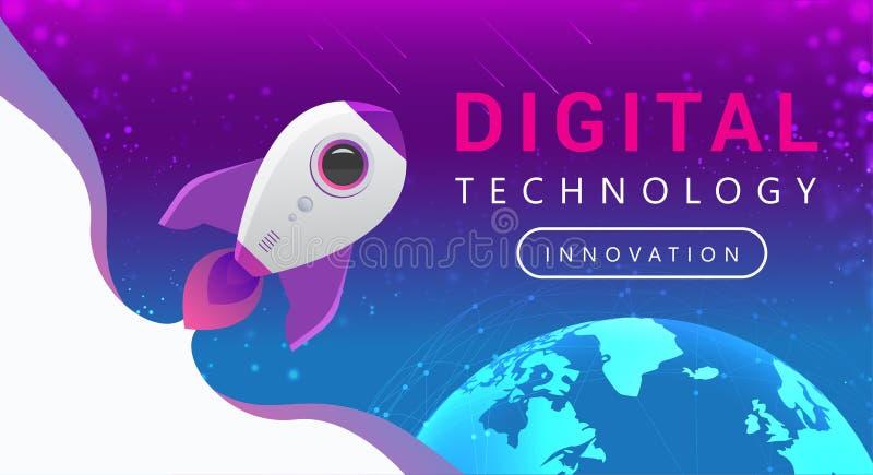 De digitale lijnen van de technologieverbinding rond aardebol Rocket Flying van Aarde aan Ruimte stock illustratie