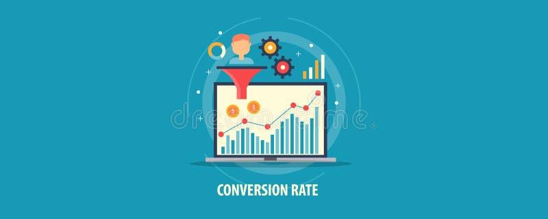 De digitale marketing analyse - klantenomzetting - verkoop concentreert - het concept van de wisselkoersoptimalisering Vlakke ont royalty-vrije illustratie
