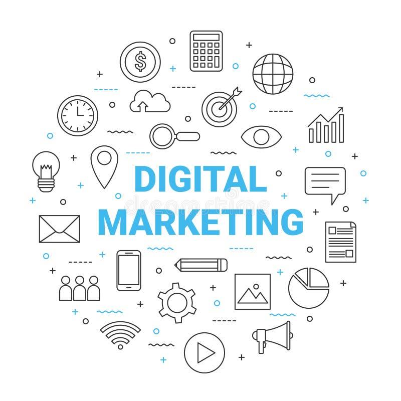 De digitale marketing cirkel van het lijnpictogram, globale bedrijfshandel royalty-vrije illustratie