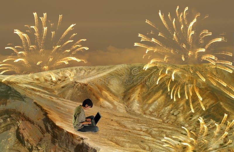 De digitale Nacht van het Nieuwjaar royalty-vrije illustratie