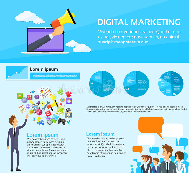 De digitale Op de markt brengende Mensen groeperen Sociale Media royalty-vrije illustratie