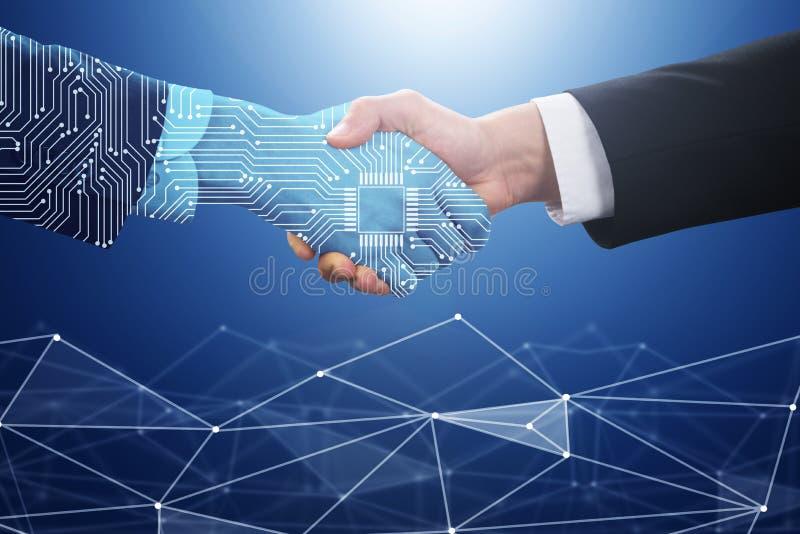 De Digitale Partner van Businesspersonshaking hand with vector illustratie