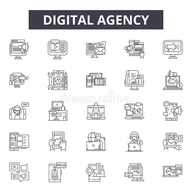 De digitale pictogrammen van de agentschaplijn, tekens, vectorreeks, het concept van de overzichtsillustratie stock illustratie